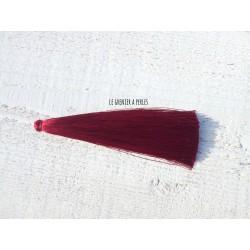 Grand pompon de luxe en soie * Rouge Bordeaux 12 cm