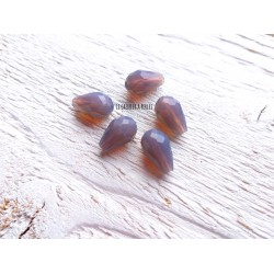 Perles Gouttes 12 x 8 mm Gris Bleu Opal X 5