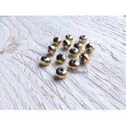 Perles plates à facettes * 8 mm * Doré AB