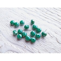 Perles plates à facettes * 8 mm * Vert AB