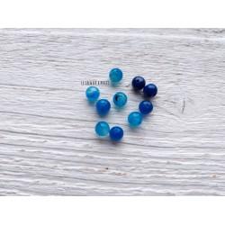 Perles Dragon's veins Agate 6 mm X 10 * Bleu