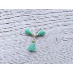 2 Petits Pompons coton * Green Turquoise * 1 cm