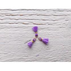 2 Petits Pompons coton * Mauve * 1 cm
