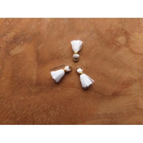 2 Petits Pompons coton * Blanc * 1 cm