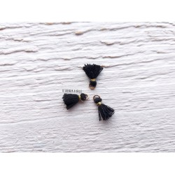 2 Petits Pompons coton * Noir * 1 cm