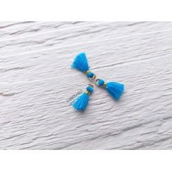2 Petits Pompons coton * Bleu * 1 cm