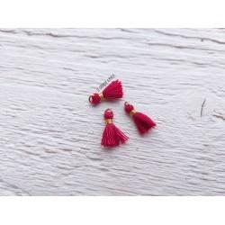 2 Petits Pompons coton * Rouge Brique * 1 cm