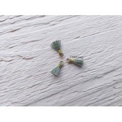 2 Petits Pompons coton * Gris * 1 cm