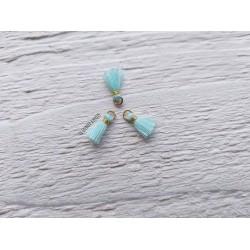 2 Petits Pompons coton * Bleu Clair * 1 cm