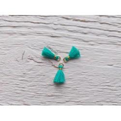 2 Petits Pompons coton * Dark Green Turquoise * 1 cm
