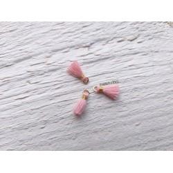 2 Petits Pompons coton * Rose Clair * 1 cm