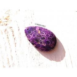 Pendentif en Pierre de Chrysanthème * 50 x 32 x 7 mm * Violet