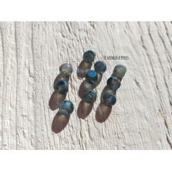 Perles CUBES 5 mm Bleu AB x 10