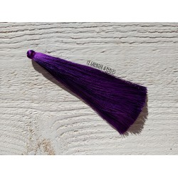 Grand pompon de luxe en soie * Violet 12 cm