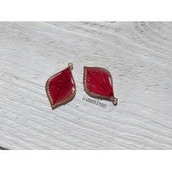 Pendentif Métal et Coton * Rouge et Or
