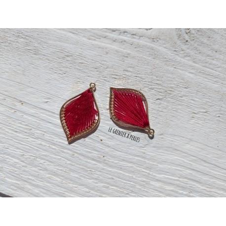 Pendentif Métal et Coton * Rouge
