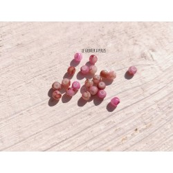Perles Rondes 4 mm Rose Marbré X 20