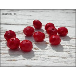 10 Perles ABACUS 8 mm RED OPAQUE