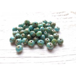 10 Abacus 5 x 7 mm Tchèques * Turquoise et Picasso * Czech beads