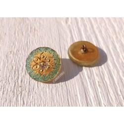1 Bouton Tchèque 18 mm * Vert et Or * Oriental * Czech button