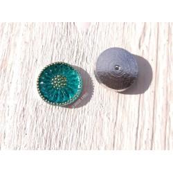 1 Cabochon Tchèque 18 mm * Vert Turquoise et Or * Daisy * Czech Cabochon
