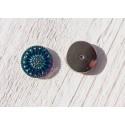 1 Cabochon Tchèque 18 mm * Volcano, Turquoise et Argent * Daisy * Czech Cabochon