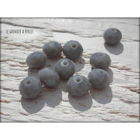Perles ABACUS 8 mm Gris Opaque X 10