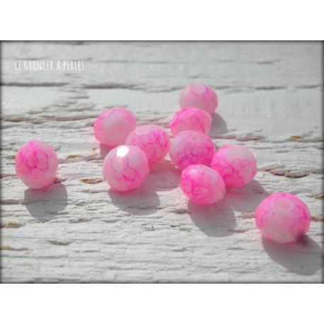 Perles ABACUS 8 mm Light Pink Tacheté X 10