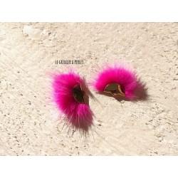 Pompon Fourrure Synthétique Rose Fuschia 3 x 2 cm