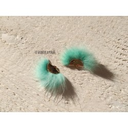 Pompon Fourrure Synthétique Green Turquoise 3 x 2 cm