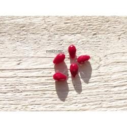Perles Gouttes 12 x 8 mm Rouge X 5