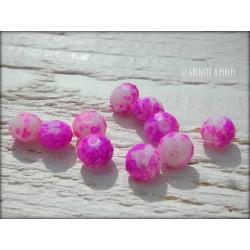 Perles ABACUS 8 mm Rose Tacheté X 10