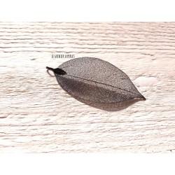 Pendentif Feuille Filigrané Black Métal