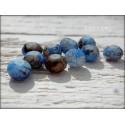 Perles ABACUS 8 mm Bleu et Marron Marbrées X 10