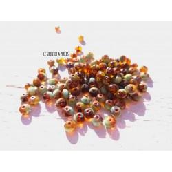 20 Rondelles Tchèques 3 x 5 mm * Amber, Tea green & Picasso 1030 * Czech Rondelles