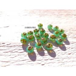 10 Rondelles 5 x 7 mm Tchèques * Tea green Picasso 0729
