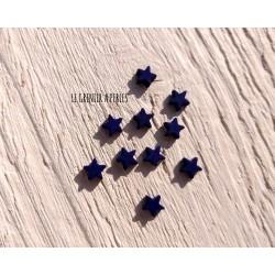 Perles Etoile 6 mm * Caoutchouc Bleu cobalt