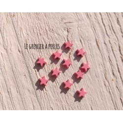 Perles Etoile 6 mm * Caoutchouc Rose