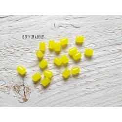 5 Perles Cylindre 6 x 8 mm Jaune Citron