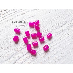 5 Perles Cylindre 6 x 8 mm Rose Fuschia