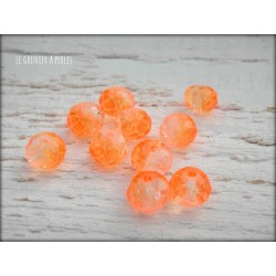 Perles ABACUS 8 mm Orange Fluo X 10