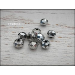 Perles ABACUS 8 mm Argent Silver X 10