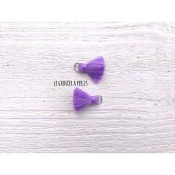 2 Petits Pompons coton * Violine * 2 cm