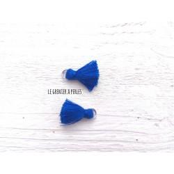 2 Petits Pompons coton * Bleu Roi * 2 cm