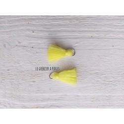 2 Petits Pompons coton * Jaune Pastel * 2 cm