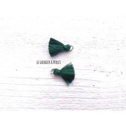 2 Petits Pompons coton * Vert Emeraude * 2 cm