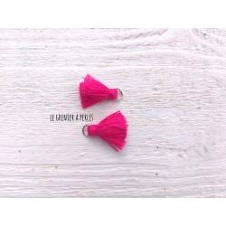 2 Petits Pompons coton * Rose Fuschia * 2 cm