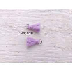 2 Petits Pompons coton * Mauve * 2 cm