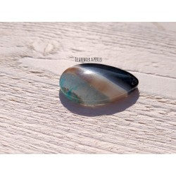 1 Pendentif  Onyx * AGATE * Noir, Bleu, Marron * 44 x 28 x 7 mm