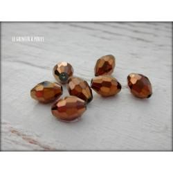 Perles Ogives Facettées Bronze 6 x 8 mm X 10